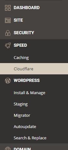 a screenshot showing where you can install cloudfare via siteground