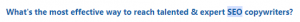 screenshot from quora asking what's the best way to find talented SEO copywriters
