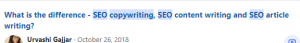 image of question asking what's the difference between seo copywriting and seo content writing