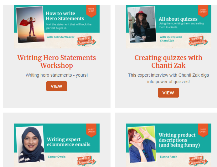 A collection of the guest expert masterclasses available in confident copywriting