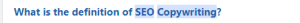 screenshot from quora question that asks for the definition of seo copywriting