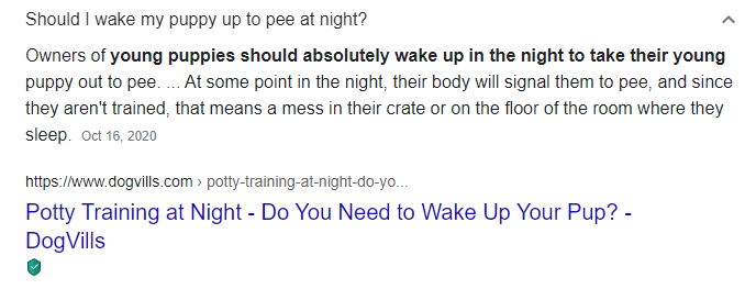 an example of a featured FAQ snippet on the search engine results page