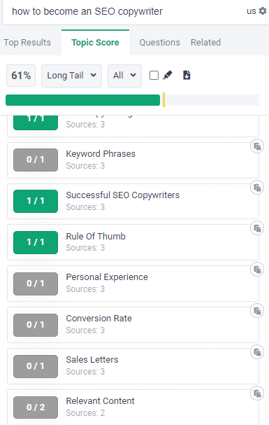 example of topic score done on an seo article